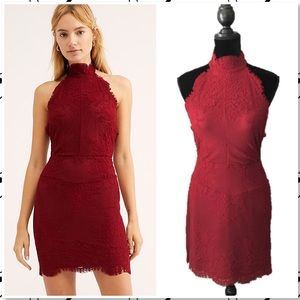 Free People Harper High Neck Slip Mini Dress Red M